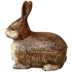 Small Majolica Pate Brown Rabbit Tureen