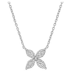 Small Marquise Diamond Flower Pendant