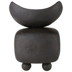 Small Matte Black Ceramic TOTEM,  Soft Rectangular Form w/ Open Top, Ball Feet