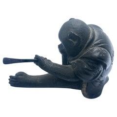 Small Meiji Japanese Bronze Figure of a Monkey Wearing a Kimono