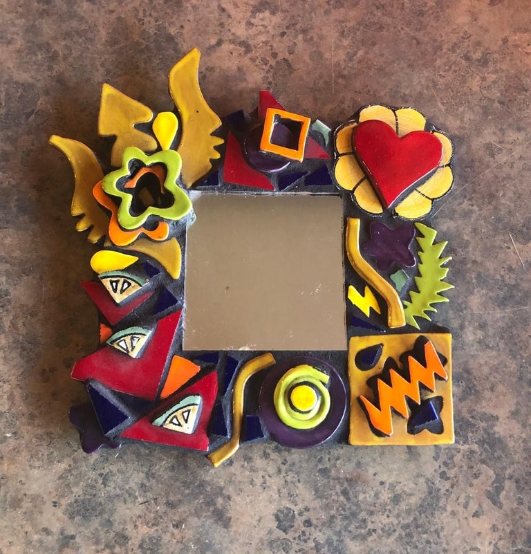 Post-Modern Small Memphis Style Postmodern Mirror For Sale