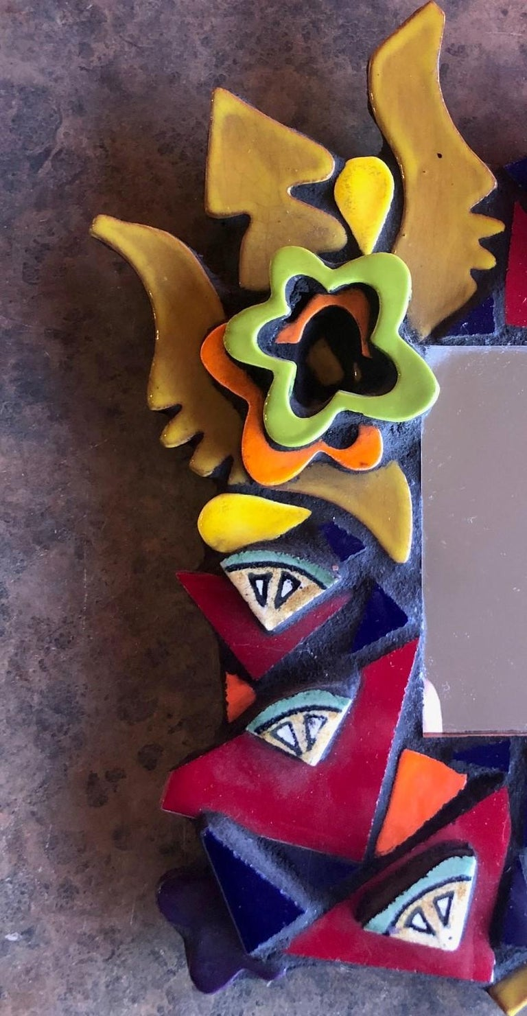 American Small Memphis Style Postmodern Mirror For Sale