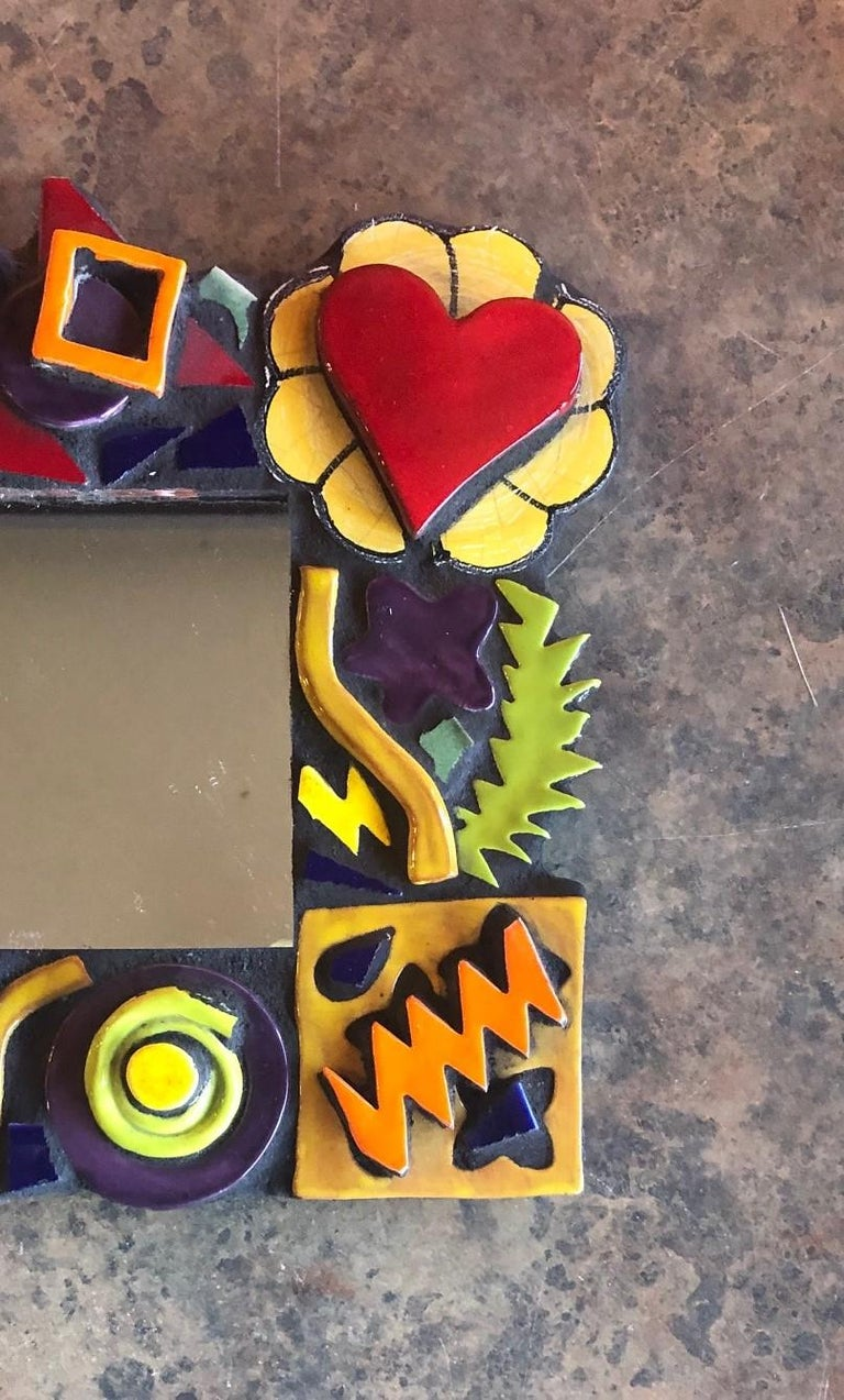Small Memphis Style Postmodern Mirror In Good Condition For Sale In San Diego, CA