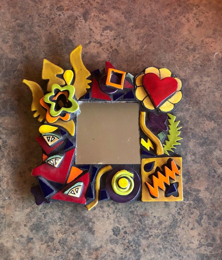 Pottery Small Memphis Style Postmodern Mirror For Sale