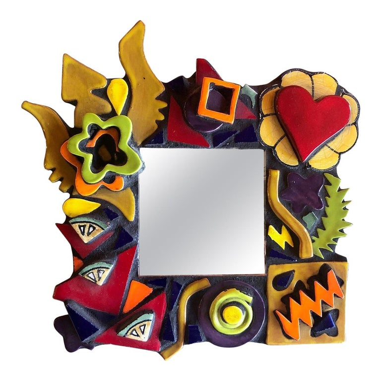 Small Memphis Style Postmodern Mirror For Sale