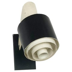 "Small Metal Sconces Wall Light ""Black and White"" Series, Novalux France, 1960s"