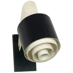 "Small Metal Sconces Wall Light ""Black and White"" Series, Novalux, France, 1960s"