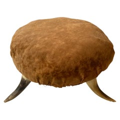 Small Mid-20th Century American 3 Legged Antler Foot Stool
