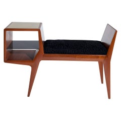 Small Midcentury Bench with Black Persian Cushion, Italy, 1950s
