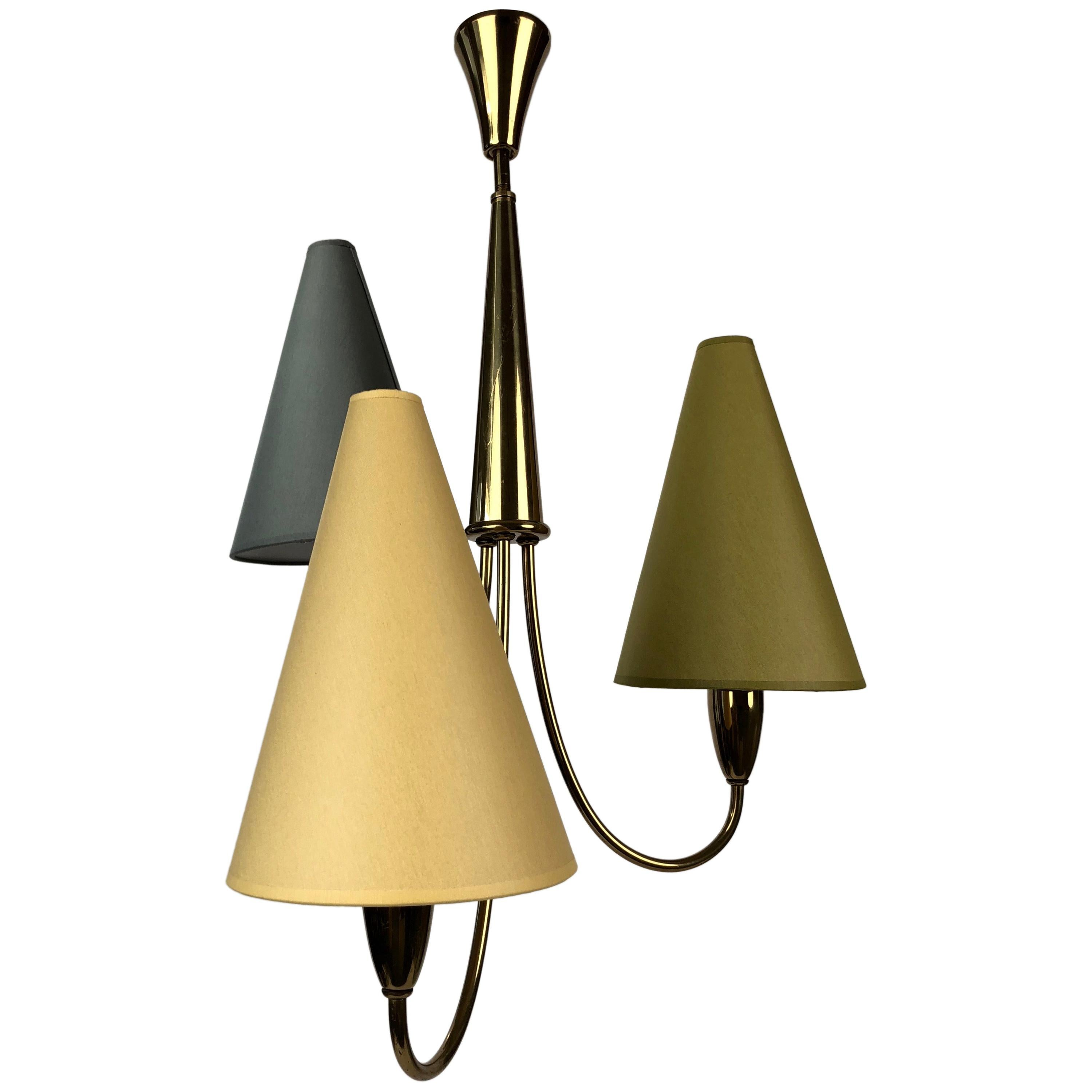 Small Midcentury Chandelier in Brass with Three Colorful Shades