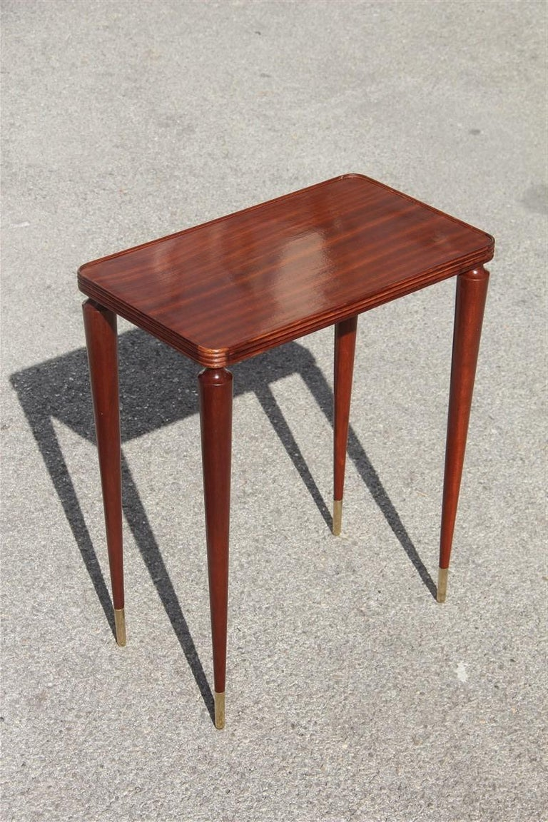 Small Midcentury Gueridon Mahogany Wood Brass Feet Italian Gio Ponti Attributed For Sale 1