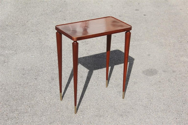 Small Midcentury Gueridon Mahogany Wood Brass Feet Italian Gio Ponti Attributed For Sale 3