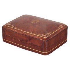 Small Midcentury Italian All Leather Box with Embossed Gold, circa 1960