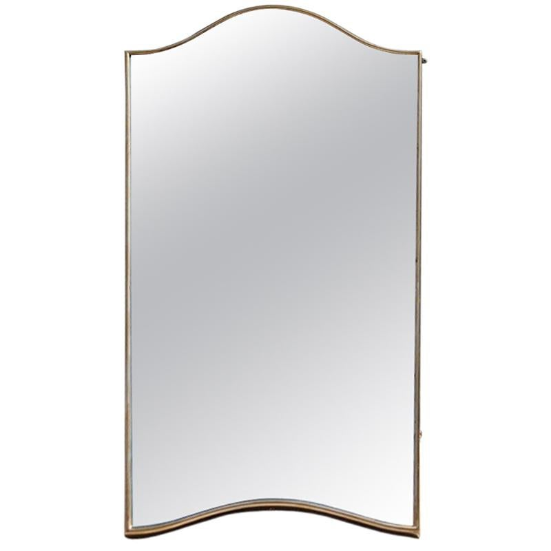 Small Midcentury Italian Design Gold Brass Shaped Wall Mirror