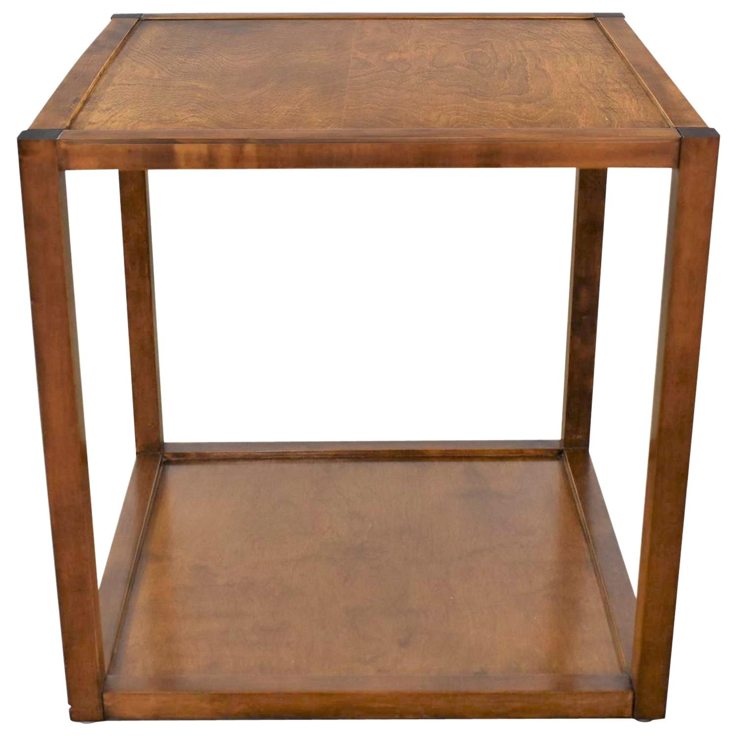 Small Mid-Century Modern Cube Like Side End or Occasional Table