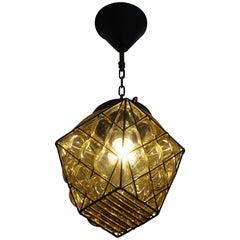 Small Mid-Century Modern Italian Mouthblown Amber Glass into Metal Frame Pendant