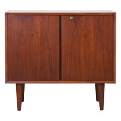 Small Mid-Century Modern Lockable Walnut Cabinet or Mini-Bar or Dry Bar
