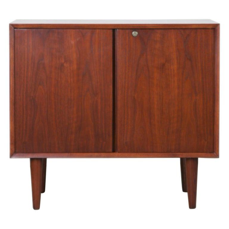 Small Mid Century Modern Lockable Walnut Cabinet Or Mini Bar Or Dry
