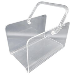 Small Mid-Century Modern Lucite Magazine Rack with Lucite Handle