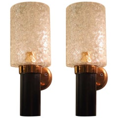 Small Mid-Century Modern Sconces, Brass & Glass, Maison Arlus Style, France 1950