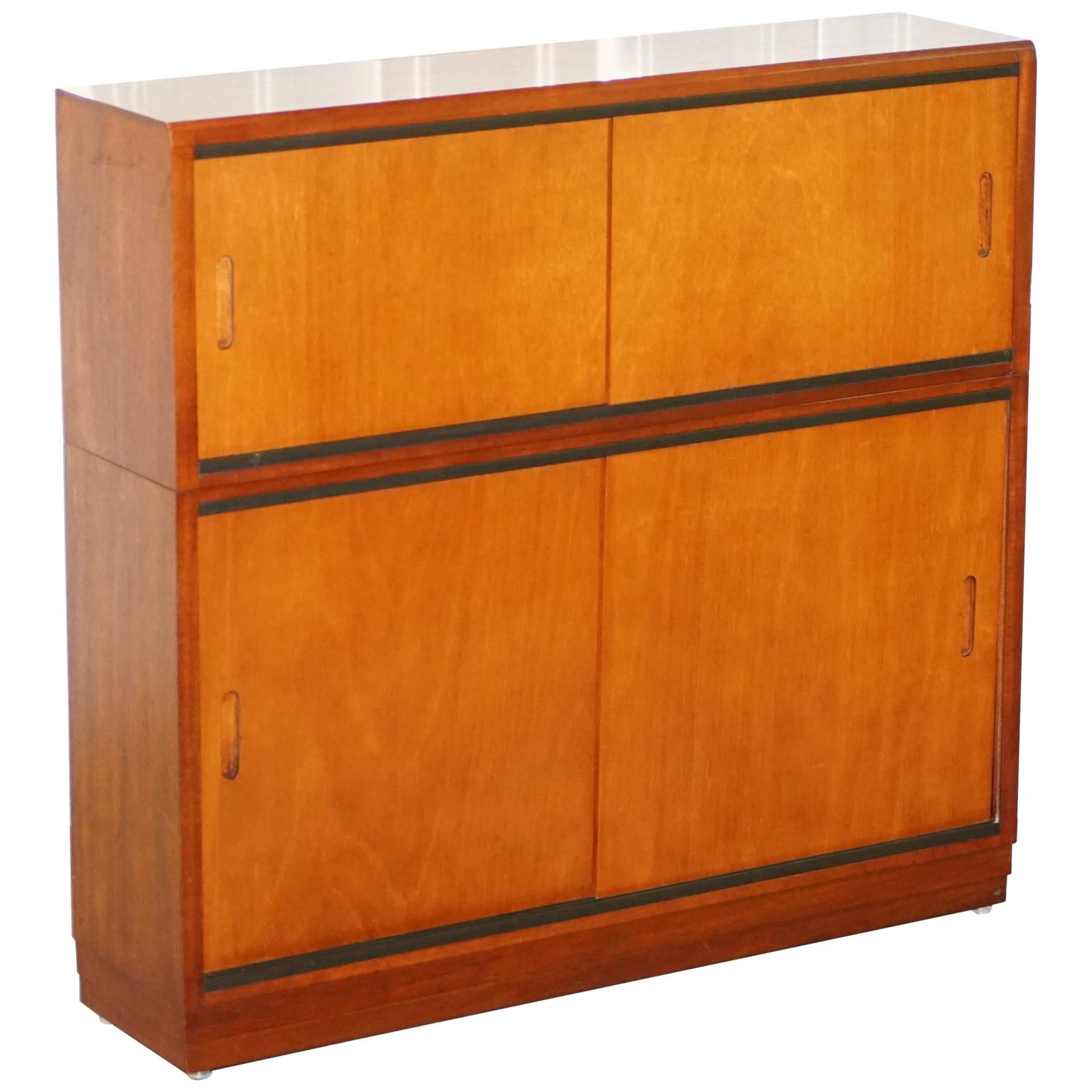 Small Mid Century Modern Sliding Door Sideboard Or Bookcase Stackable Sections