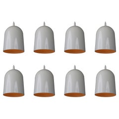 Small Mid-Century Modern White Coated Pendants Lights, Germany, 1970s