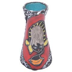 Small Multi-Coloured Midcentury San-Marino Fat Lava Vase