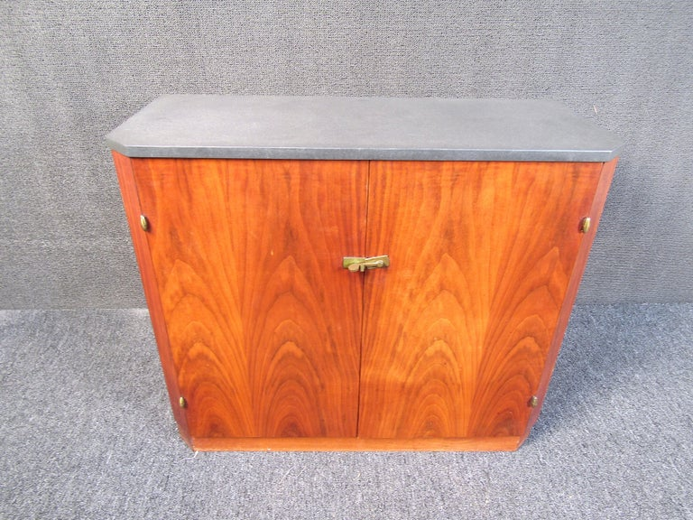 Mid-Century Modern Small Midcentury Stone and Walnut Cabinet For Sale