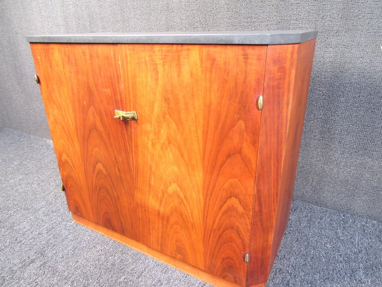 American Small Midcentury Stone and Walnut Cabinet For Sale