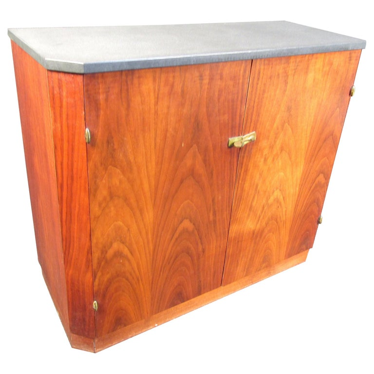 Small Midcentury Stone and Walnut Cabinet For Sale