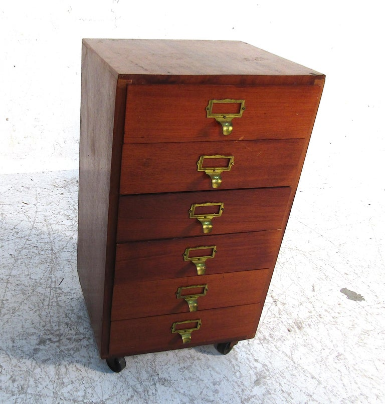 Mid-Century Modern Small Midcentury Teak File Cabinet For Sale