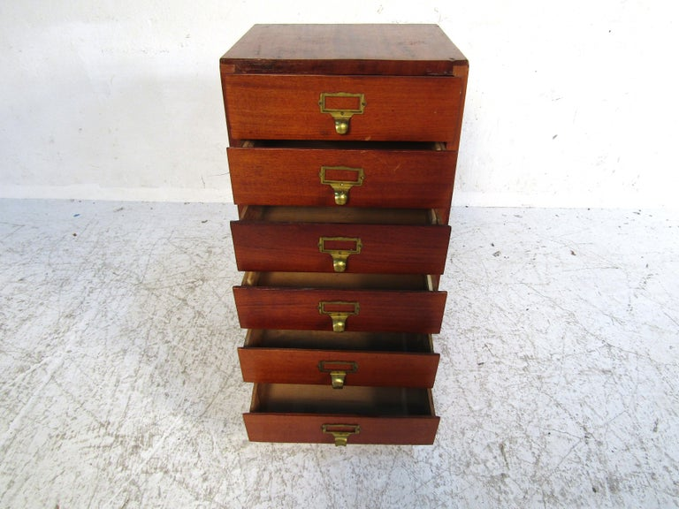 Small Midcentury Teak File Cabinet For Sale 1