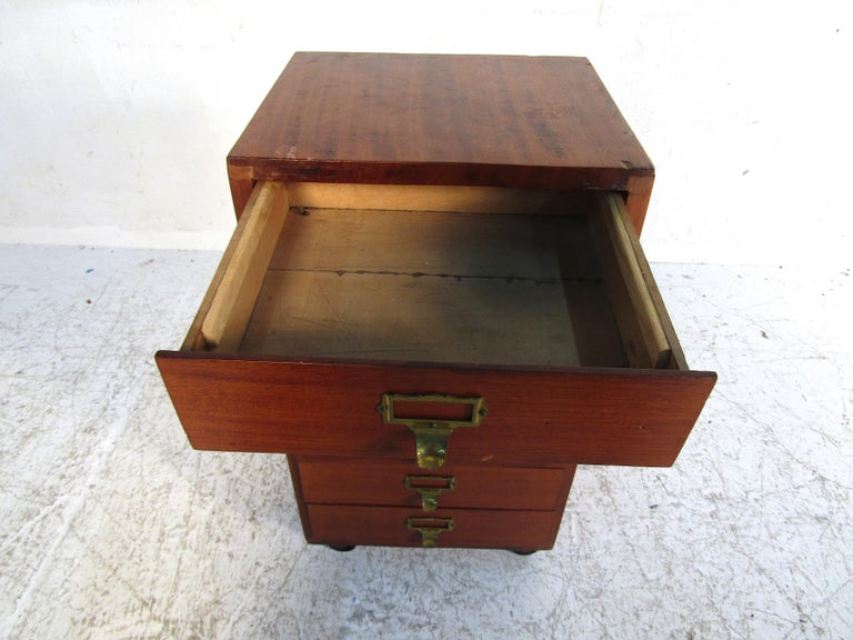 Small Midcentury Teak File Cabinet For Sale 2