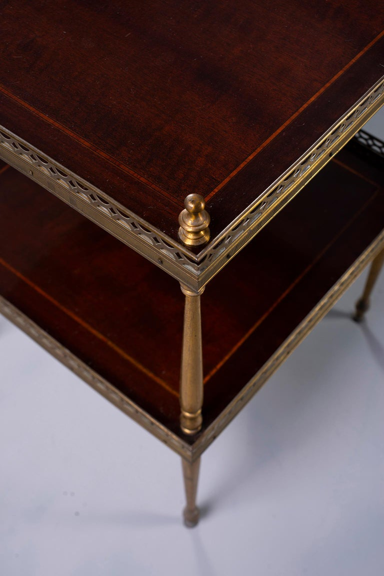 Small Midcentury Brass and Mahogany Side Table For Sale 5