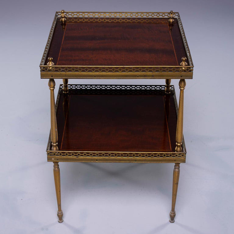 European Small Midcentury Brass and Mahogany Side Table For Sale