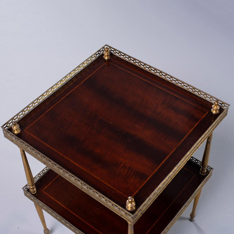 Small Midcentury Brass and Mahogany Side Table In Good Condition For Sale In Troy, MI
