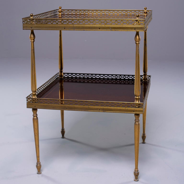20th Century Small Midcentury Brass and Mahogany Side Table For Sale