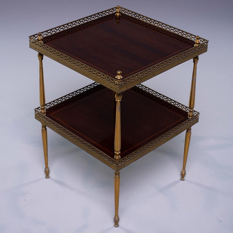 Small Midcentury Brass and Mahogany Side Table For Sale 1
