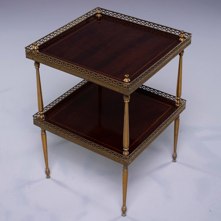 Small Midcentury Brass and Mahogany Side Table For Sale 3