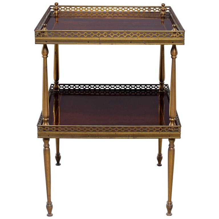 Small Midcentury Brass and Mahogany Side Table For Sale
