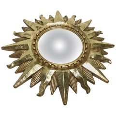 Small Midcentury Golden Sunburst Mirror