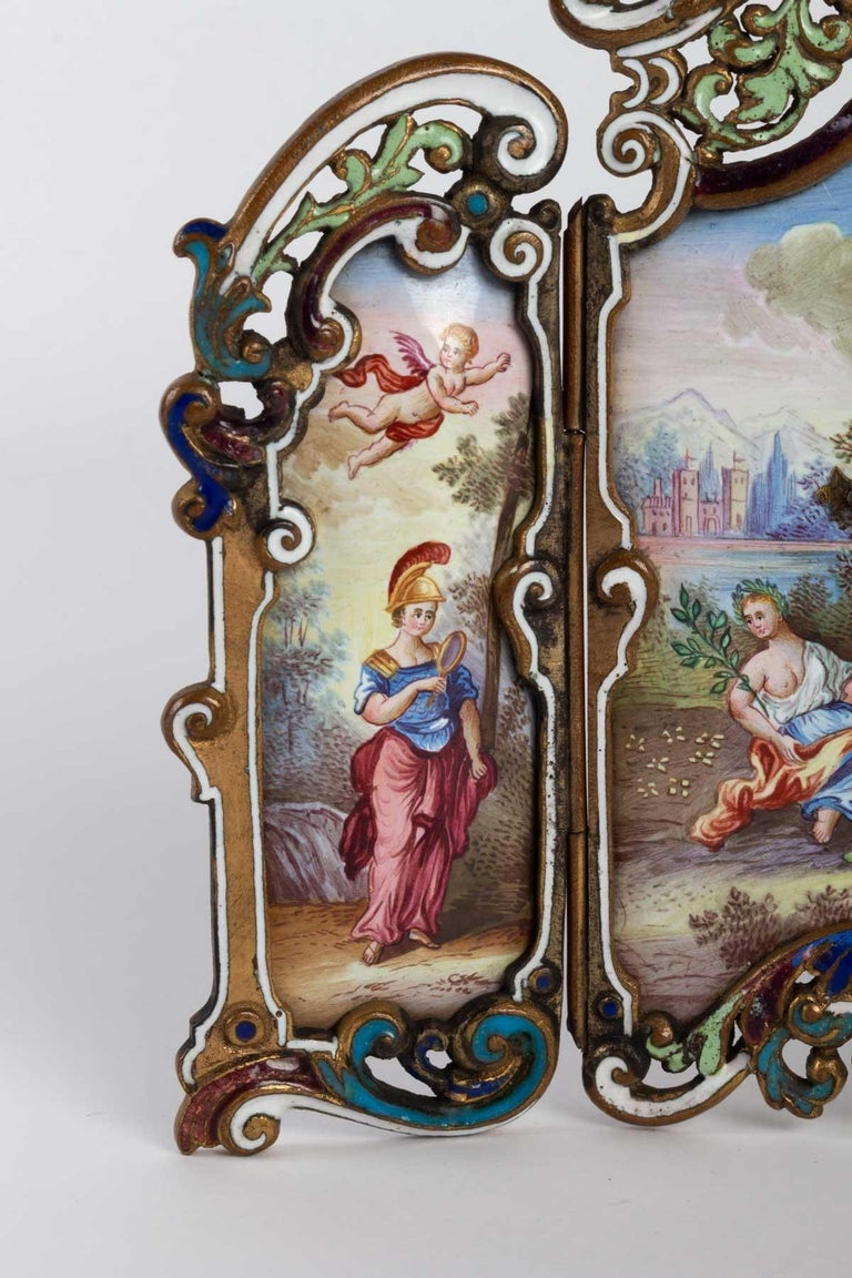 Gilt  Small Miniature Screen in Gilded Bronze in the Louis XV For Sale