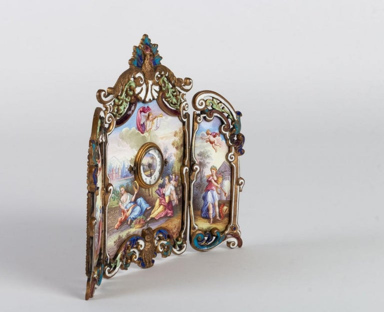 Small Miniature Screen in Gilded Bronze in the Louis XV In Good Condition For Sale In Saint-Ouen, FR