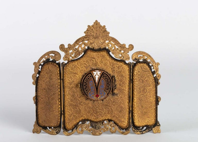 19th Century  Small Miniature Screen in Gilded Bronze in the Louis XV For Sale