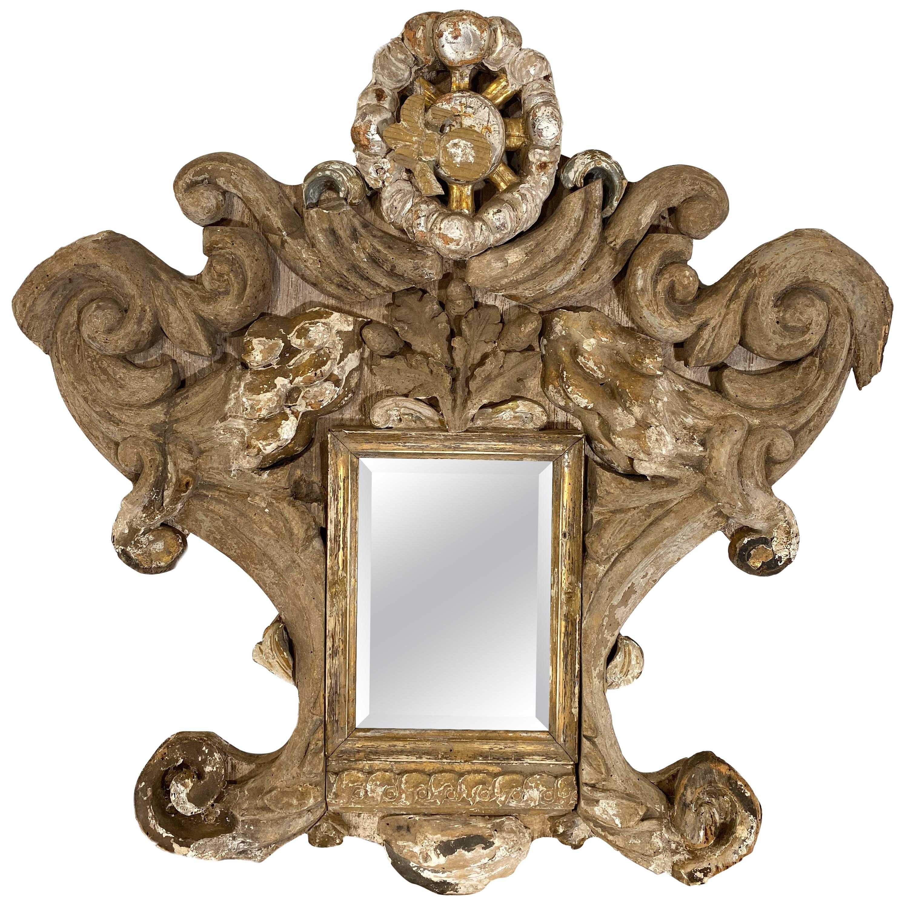 Small Mirror Made from 18th Century Italian Fragments