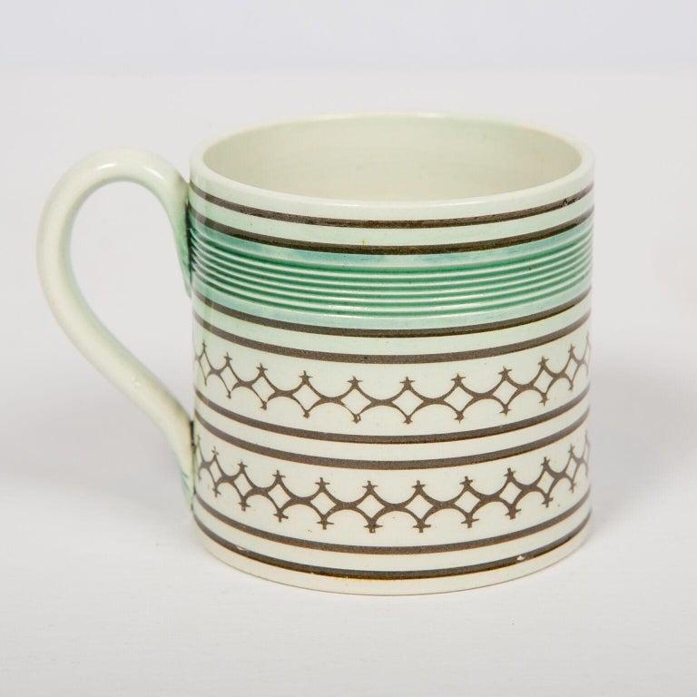Glazed Small Mochaware Mug England, circa 1820 For Sale