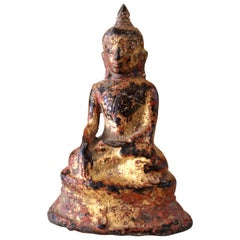 Small Monumental Gilt Bronze Buddha Myanmar Burma Ancient Layered Patina
