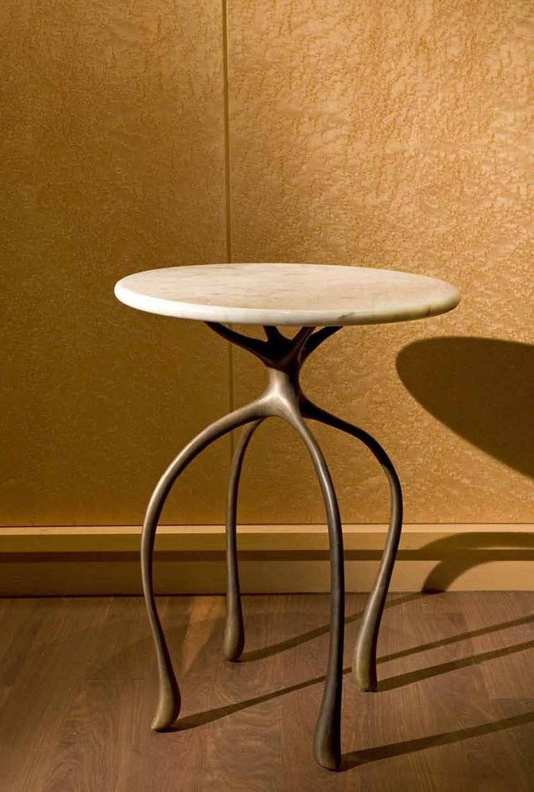 Modern Moonshine Side Table, Cast Red Bronze, Carrara Marble, Jordan Mozer, 2010 For Sale
