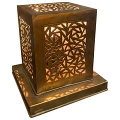 Small Moroccan Brass Cube Lamp