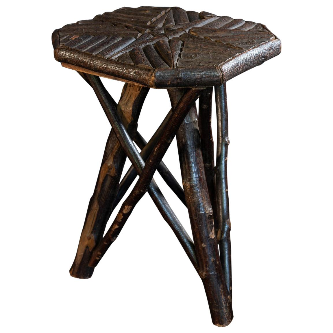 Small Naive Hazel Wood Twig Stool/Side Table, Early 20th Century